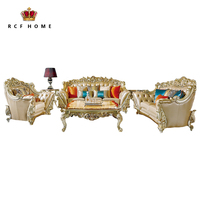 Old silver Furniture leather living room pure leather recliner sectional sofa luxury french royal solid wood antique sofa set