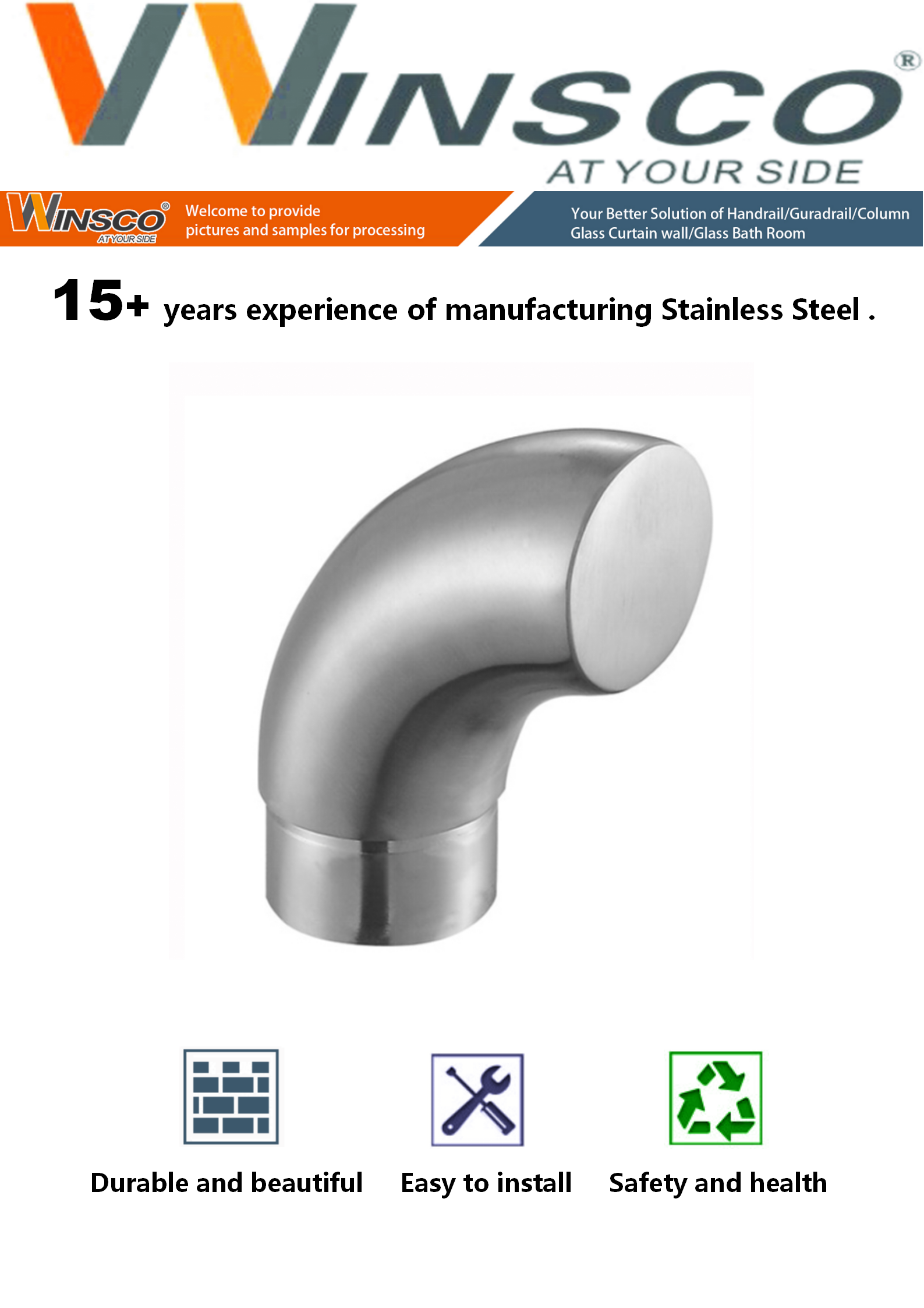 SUS304 316L China factory directly supply Handrail tube decorated bend Stainless Steel End Cap Curved