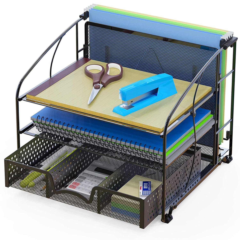 Beautiful SimpleHouseware Desk Organizer 3 Tray W/Sliding Drawer And Hanging File  Holder, Black