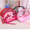 Pink Half clear PVC wholesale promotional customized makeup bag