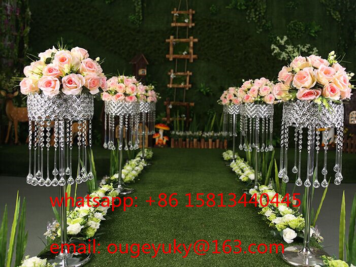 Tall Silver Metal Flower Stand Crystal Wedding
