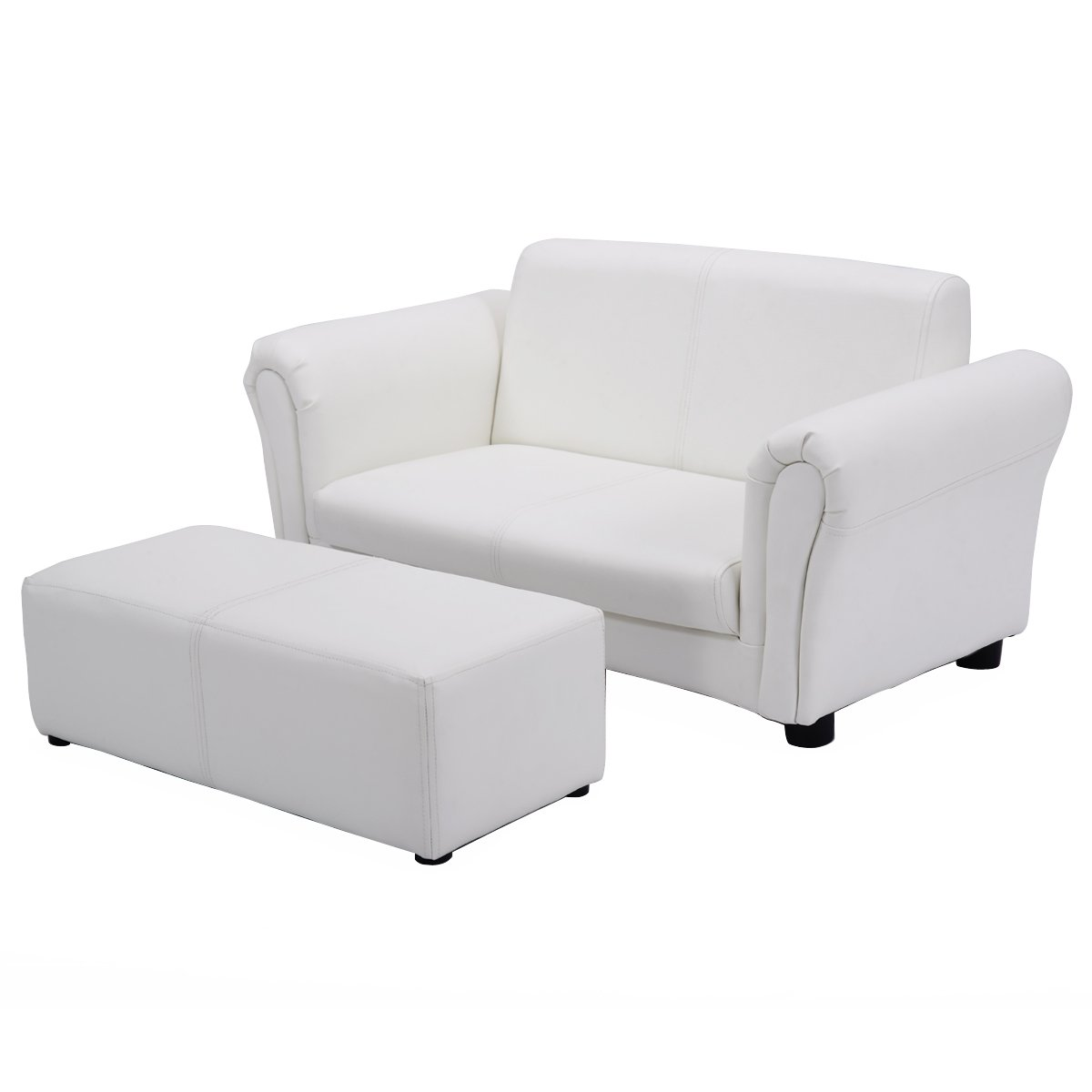 Costzon Kids Sofa Set 2 Seater Armrest Children Couch Lounge w/Footstool (White)