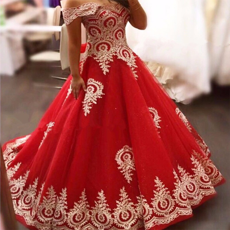 Fa75 Hot Red And Gold Wedding Dresses For Sale Pictures Ball Gown