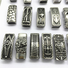 Manufacturer wholesale Supply Various Design 12x6mm Stainless Steel Silver Hollow flat mens leather bracelets slide charms