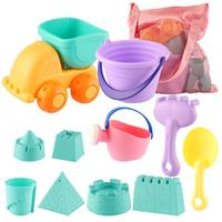 Beach Toys Sandbox Toys with Sand Truck Bucket Shovels Rakes Beach Castle Molds Water Can Storage Bag