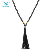 Elegant tasseled buddha pendant match gold beads beaded black agate necklace
