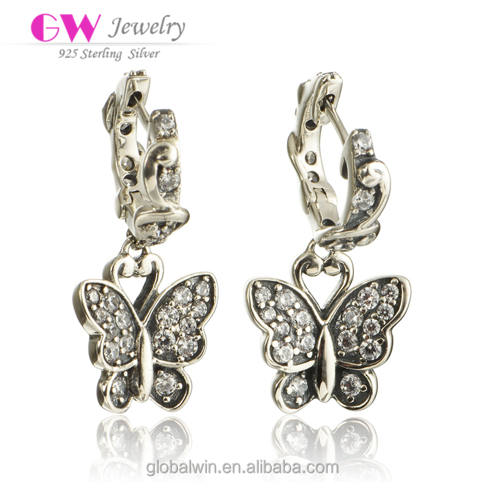 Elegant Sterling Silver Earring White Zircon Butterfly Earrings Bohemian Earrings Wholesale