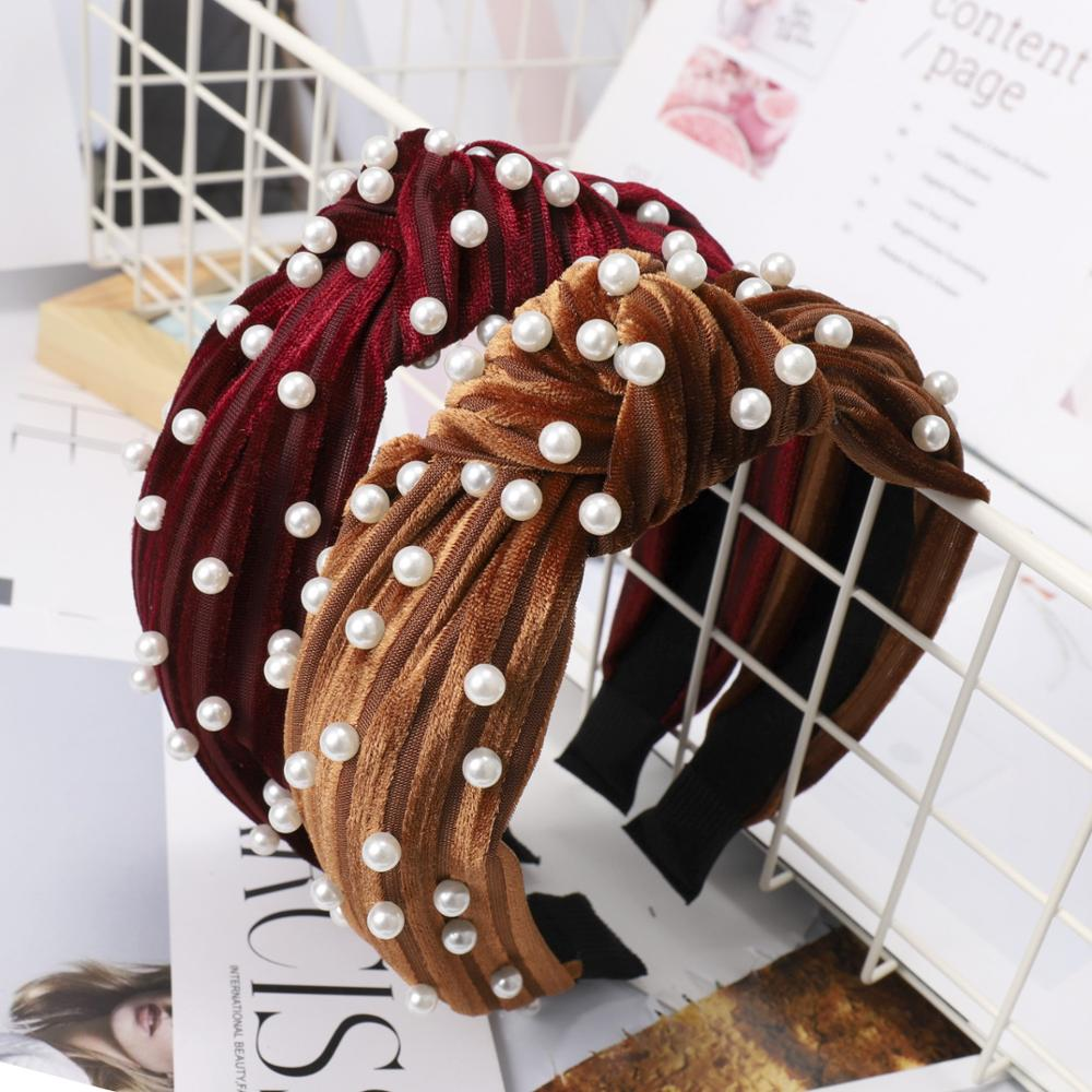 Women Fashion New Design Spring Summer Hair Accessories Hair Band Knot Pearl Hair Band <strong>Headband</strong>