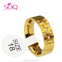 QR-0018 High Quality Stainless Steel Latest Gold Ring Designs Jewelry for Wholesale