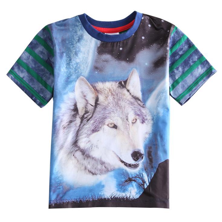 Dmv 6 Points >> New Child boys wolf 3d t shirt Short Sleeved Galaxy Wolf Striped T Shirt Clothes Kids Boy's T ...