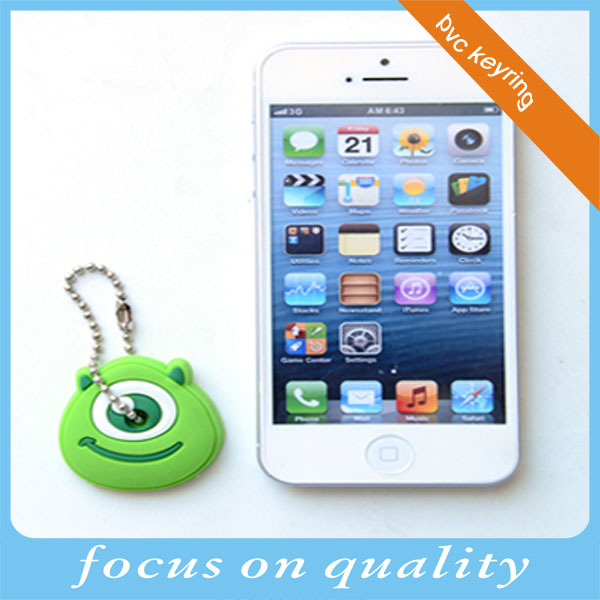 washable rubber micro injection embossed design promotional anime green one eye 3d pvc personalized key cover 3X3cm caps