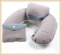 Portable Outdoor Folding Air Pillow Inflatable U Shape Neck Blow Up PVC Flocking Travel Business Plane Hotel C Shape Pillow