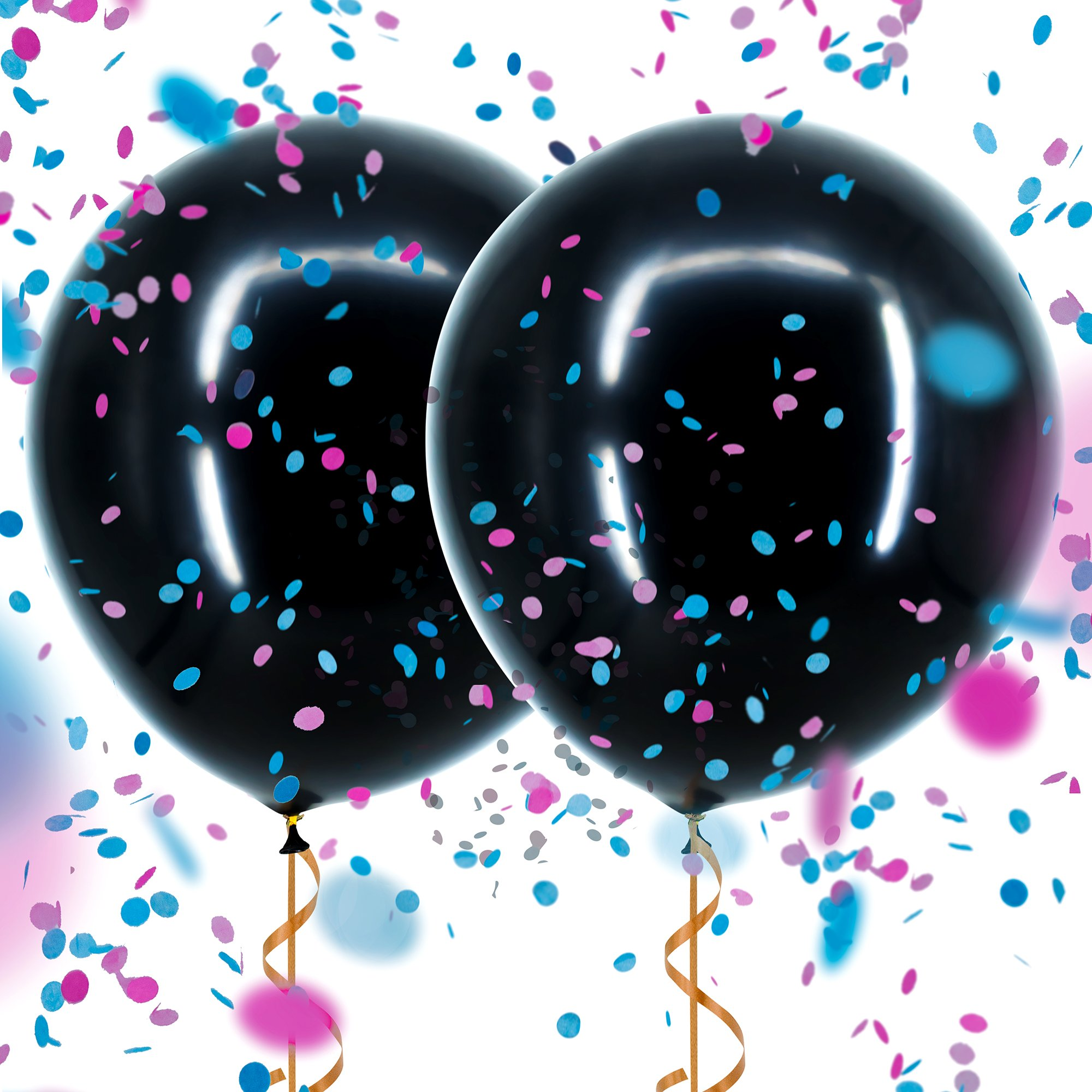 "Sepco 36"" Black Gender Reveal Balloon - Reveal Party Balloon Pop - Plus Pink and Blue Confetti"