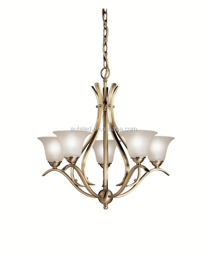 Dover Glass 1 Tier Chandelier Light Modern 5 Light 300 Total Watts Antique Brass Lighting