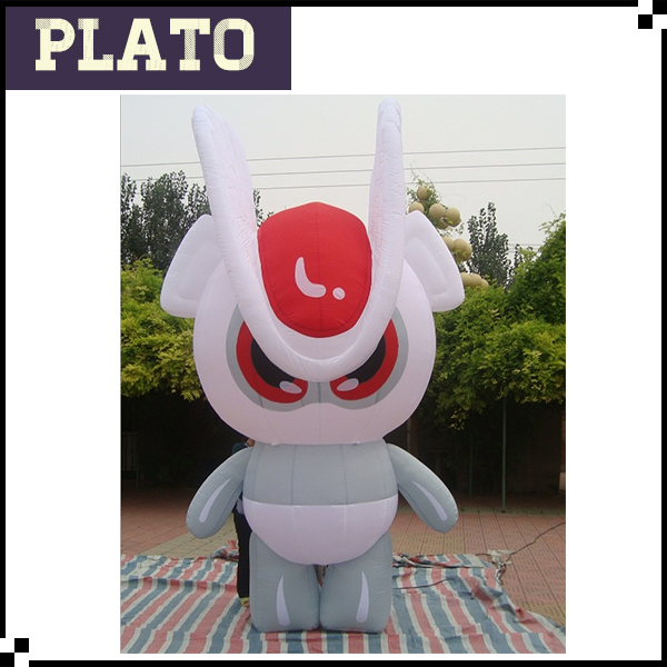 Inflatable white rabbit for advertising/cute inflatable cartoon character for kids