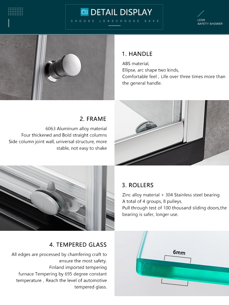 Straight tempered glass shower sliding door simple style easy install shower sliding door