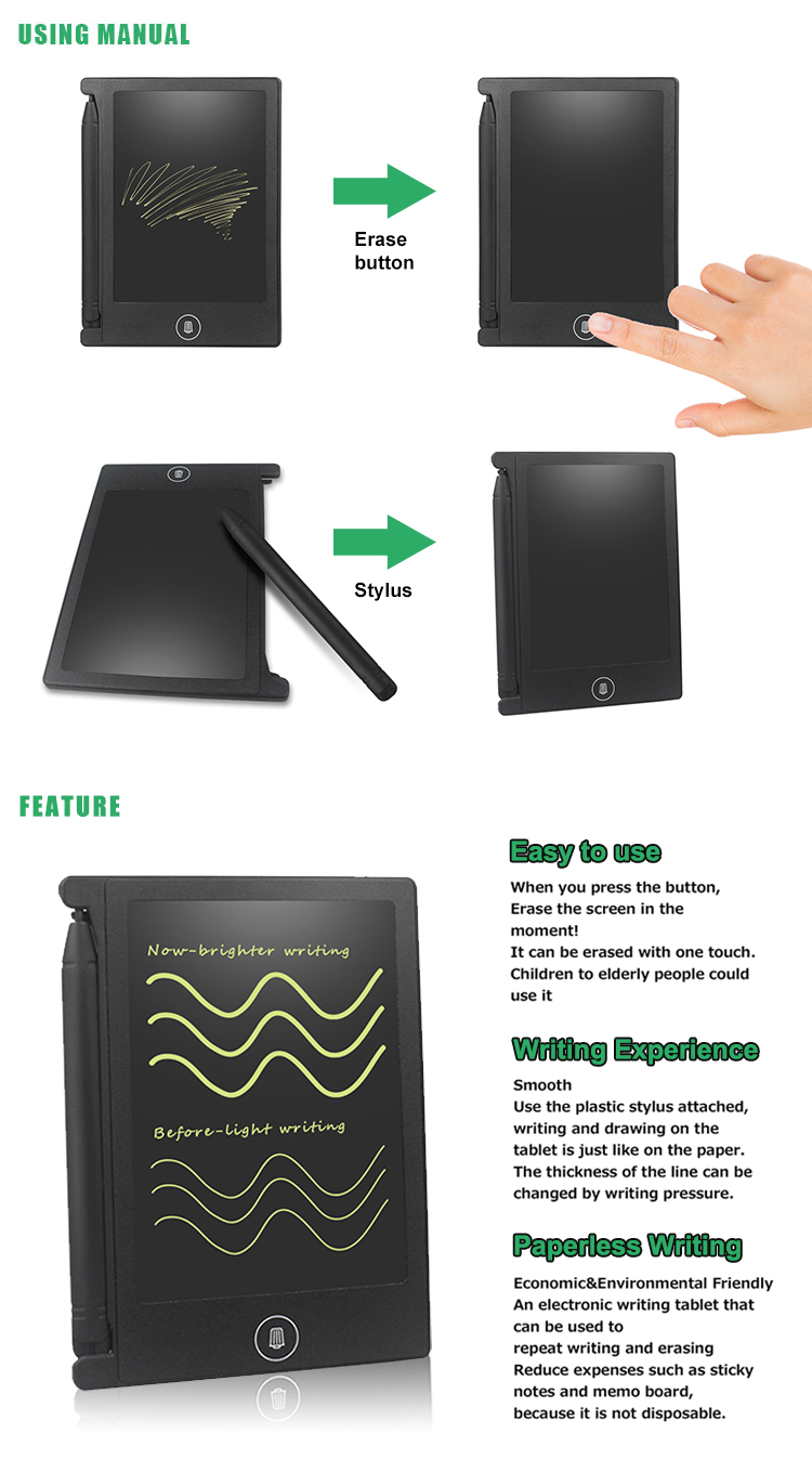 Dropshipping 4.4 Inch Lcd Writing Pad Electronic Slate Board Paperless Graphic Drawing Tablet