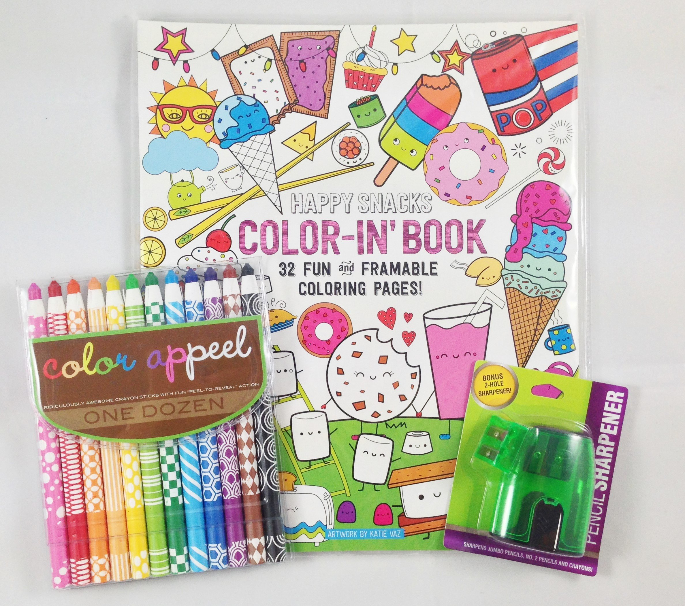 Coloring Book Bundle - 3 Items: International Arrivals Color Appeel Crayon Sticks - Set of 12, Coloring Book - Happy Snacks - 32 Pages - 9x12, and Crayon/Pencil Sharpener (colors may vary)