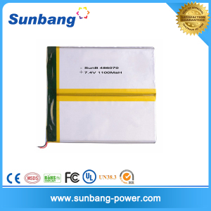 Hot sell 3.7v 7.4v 486070 1100mAh lithium polymer battery for Ebook /Ereading/GPS