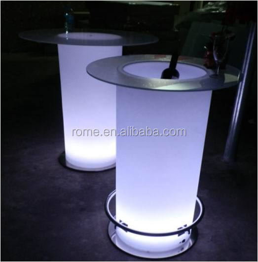 Rechargeable LED light up de mariage bar table avec plateau en verre