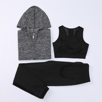 Gym Wearing Breathable 3 Units Wholesale Track Sport Suit for Women