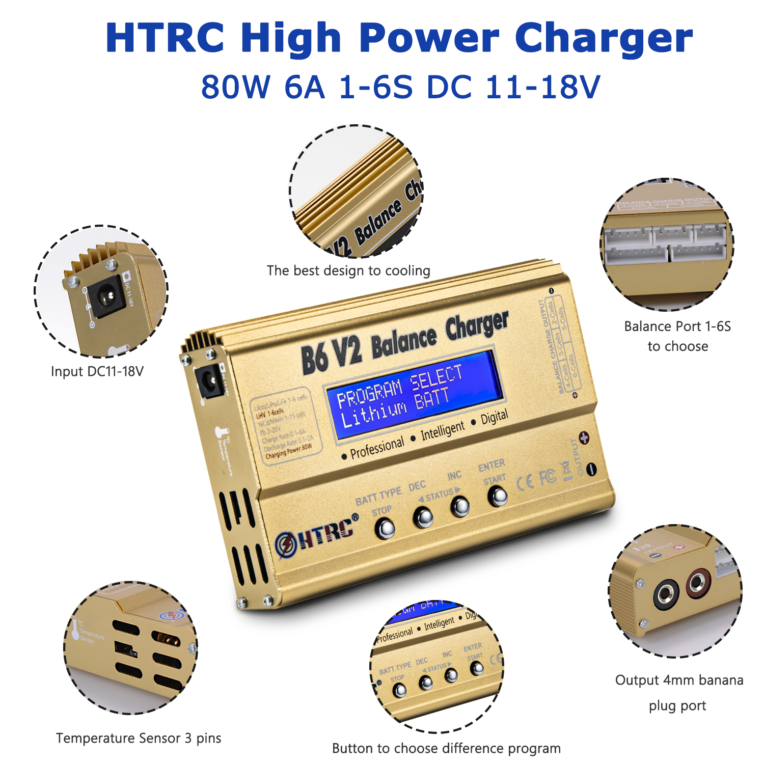 HTRC B6 <strong>V2</strong> 80W Professional Digital Lipo <strong>Battery</strong> Balance Charger Discharger for LiHV LiPo LiIon LiFe NiCd NiMH PB <strong>Battery</strong>