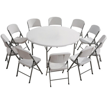 Height Adjustable Plastic Folding Round Table