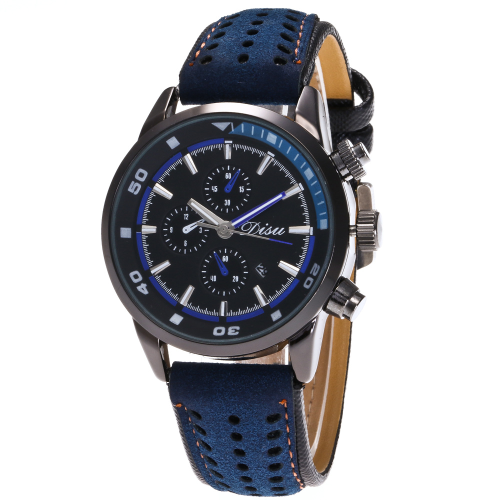 <strong>Hot</strong> men's fake three-eye sports watch double-scale calendar quartz watch