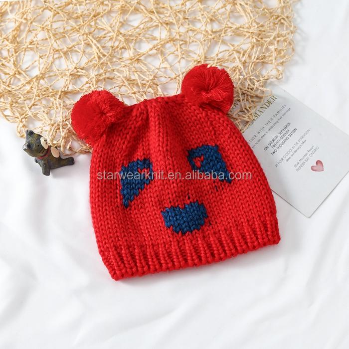 Wholesale Oem Hot Selling Fashion Knitted Beanie Pom Pom Kids Hats Custom