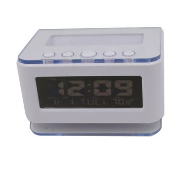 White Desktop Living Room Electronic Multifunction LCD Backlight table Desk alarm clock with temperature thermometer calenar