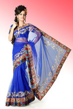 Königliches bollywood blue net sari mit <span class=keywords><strong>unstitched</strong></span> <span class=keywords><strong>bluse</strong></span>( anj571)