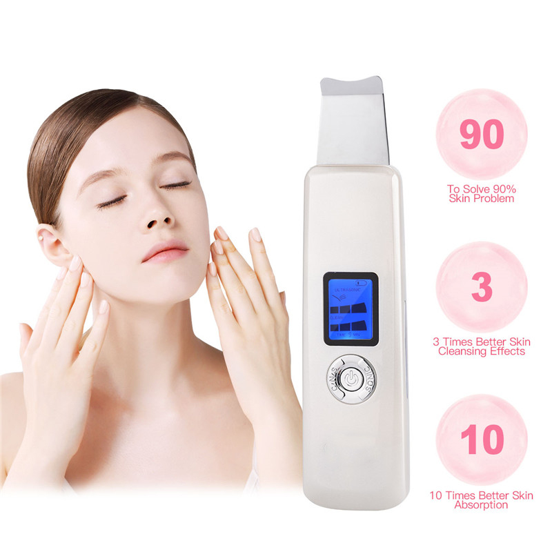 2018 Hot selling deep clean facial skin scraper electric ultrasonic skin scrubber for beauty whitening facial machine