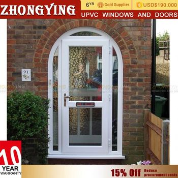 Guangzhou manufacturer offer oem upvc 48 inch arched for Arched upvc french doors