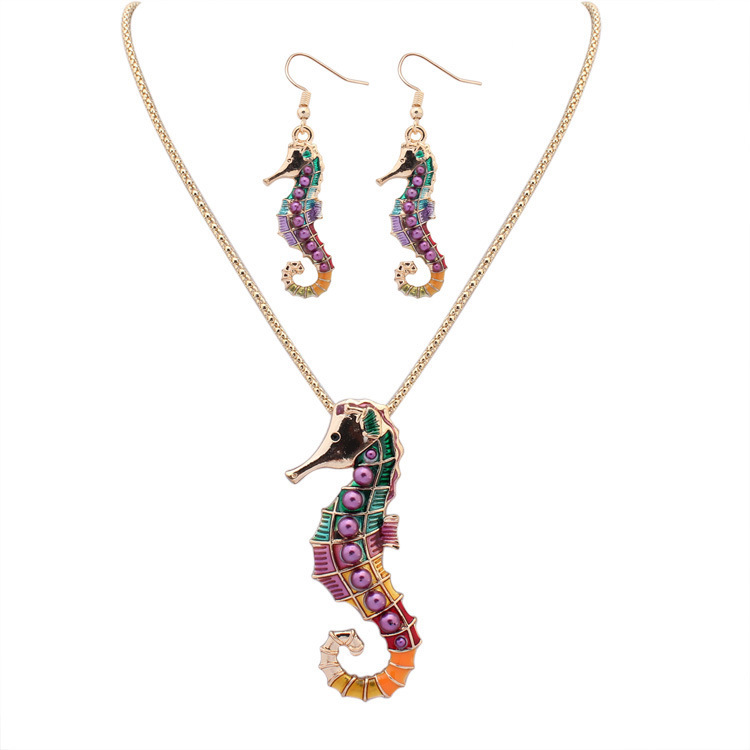 New Design Personalization Enamel Hippocampus Colorful Modern Gold Chain Necklace Jewelry <strong>Set</strong>