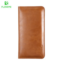 2017 FLOVEME male and female hotsale Genuine Leather Phone Wallet Case Cover samrt Cell Phone Pouch Wallet Bag