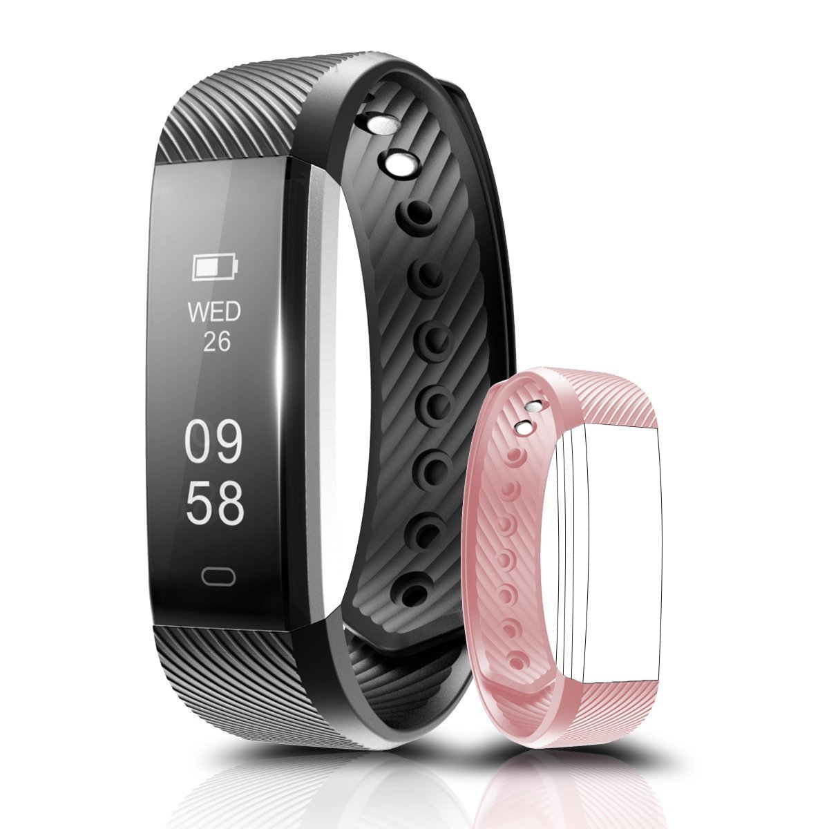 Fitness Tracker, Fitness Watch, Activity Wristband : Bluetooth Wireless Smart Bracelet, Waterproof Pedometer Activity Tracker Watch with Replacement Band for IOS & Android Smartphone