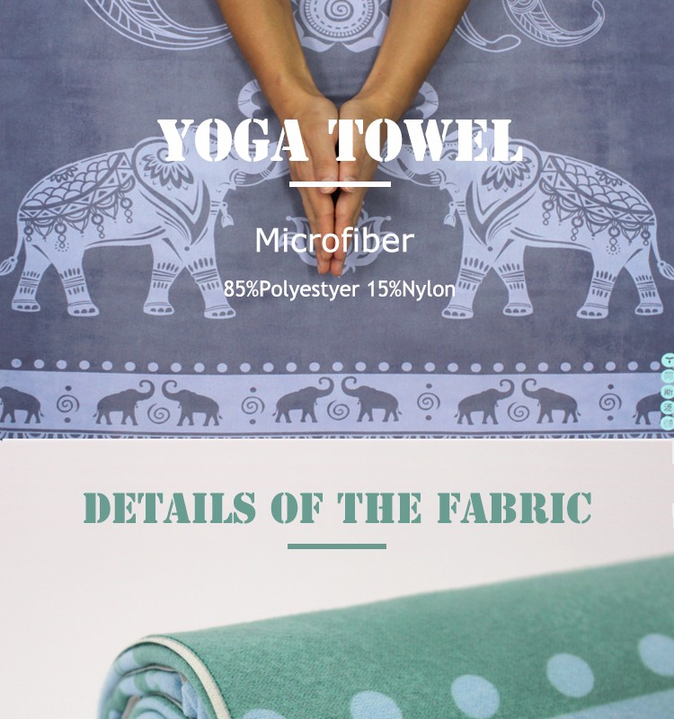 personalized 100% polyester microfiber yoga mat towel with mesh bag