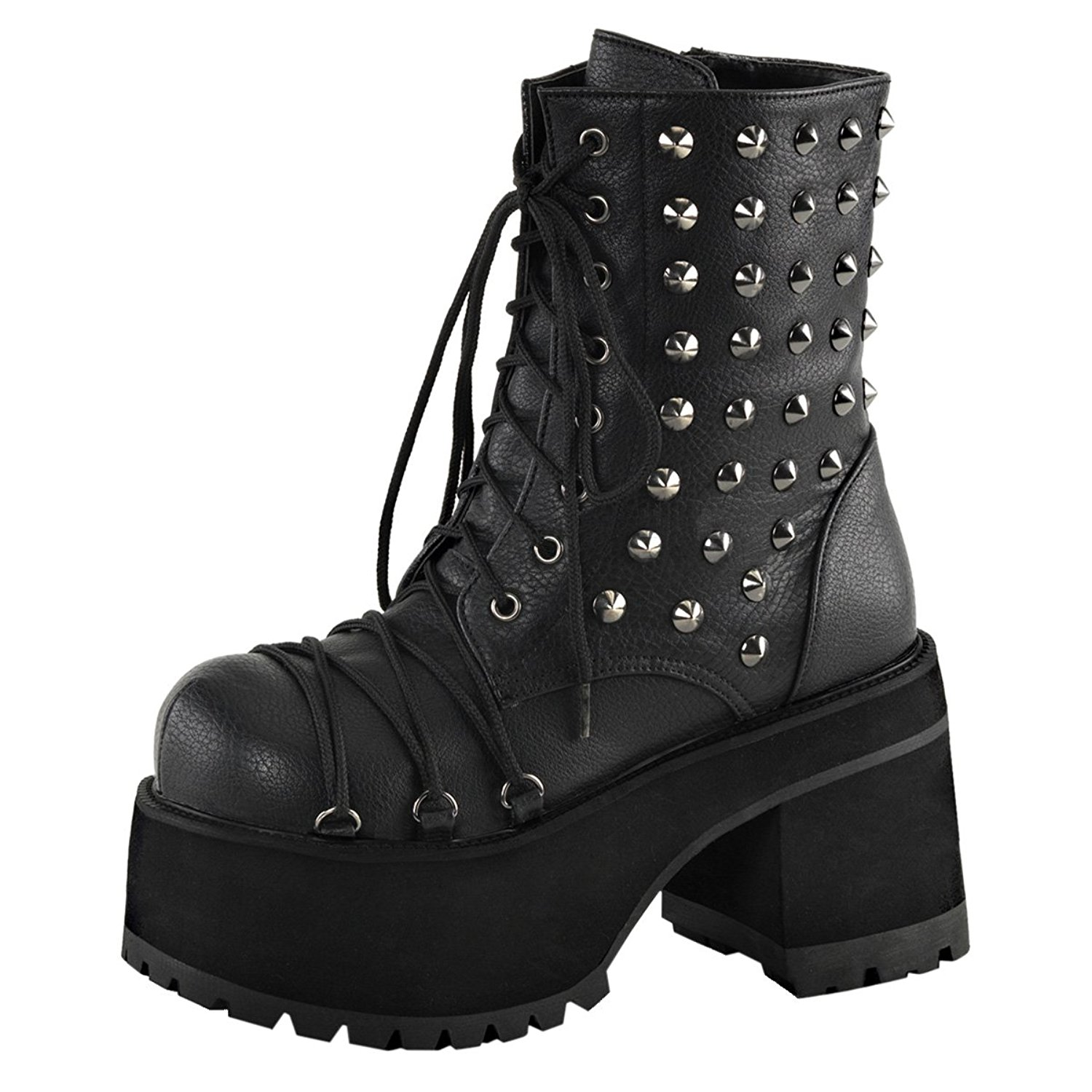 6540cc25295 Get Quotations · Summitfashions Womens Studded Combat Boots Platform Shoes  Ankle Boots Lace up 4 inch Heels