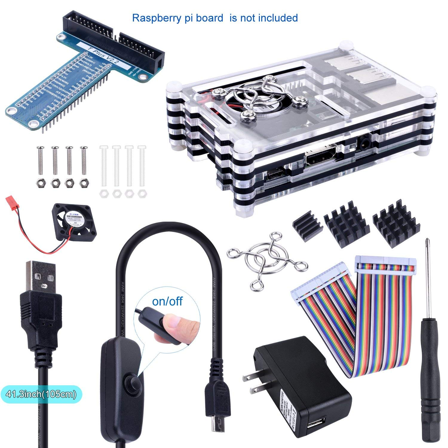 Kuman 9 in 1 Complete Kit for Raspberry Pi 3 2 Model B B+,9 Layer Case + 5V/2.5A Power Supply+Micro USB with On/Off Switch+GPIO Breakout Expansion Board+Ribbon Cable +Heatsinks+Fan Cooling+Fan Cover