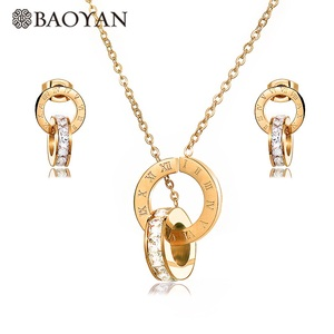 Baoyan fashion rose gold silver circle zircon pendant and earring stainless steel jewelry sets women