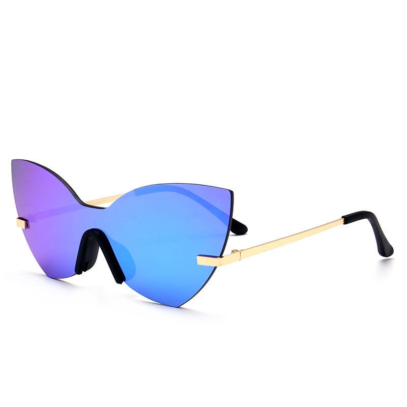 New Fashion Women Cateye Mirror Sunglasses Brand Designer Integrated Lens Men Rimless Reflective Lens Glasses T-Show Street