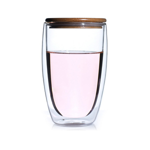 Hot selling high borosilicate insulated cup double wall glass cup double glass tumbler with bamboo lids