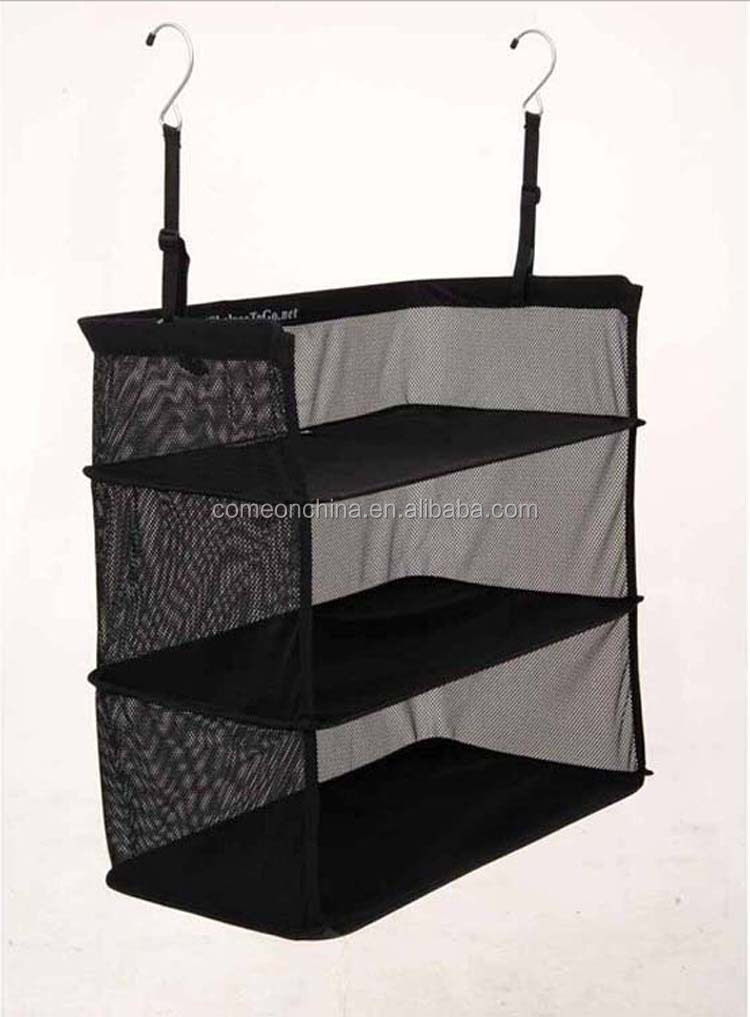 Black Three Layer Packable Hanging Shelves and Travel Closet Organizer
