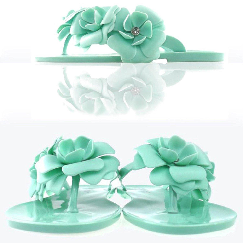 bc6873c0e3a350 Get Quotations · Camellia Flower Women Sandals Flat Flip Flops Bohemian  Gladiator Sandals Beach Slippers