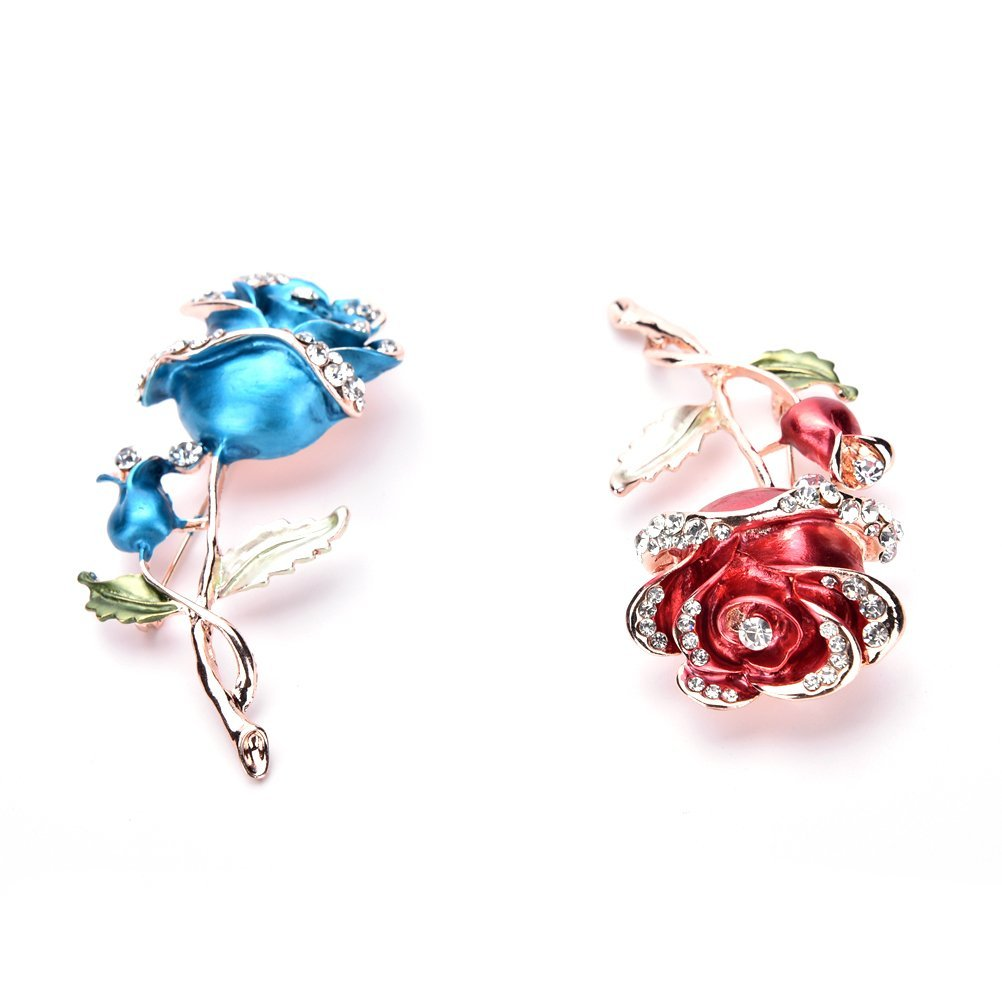Haodeba 2 Pieces Vintage Elegant Rhinestone Blue and Red Roses Flower Brooch Pin Santa Claus Gift Party Favor