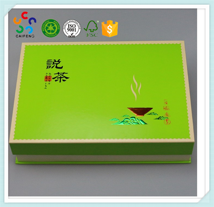 Customized logo printing green tea packaging gift box with handles