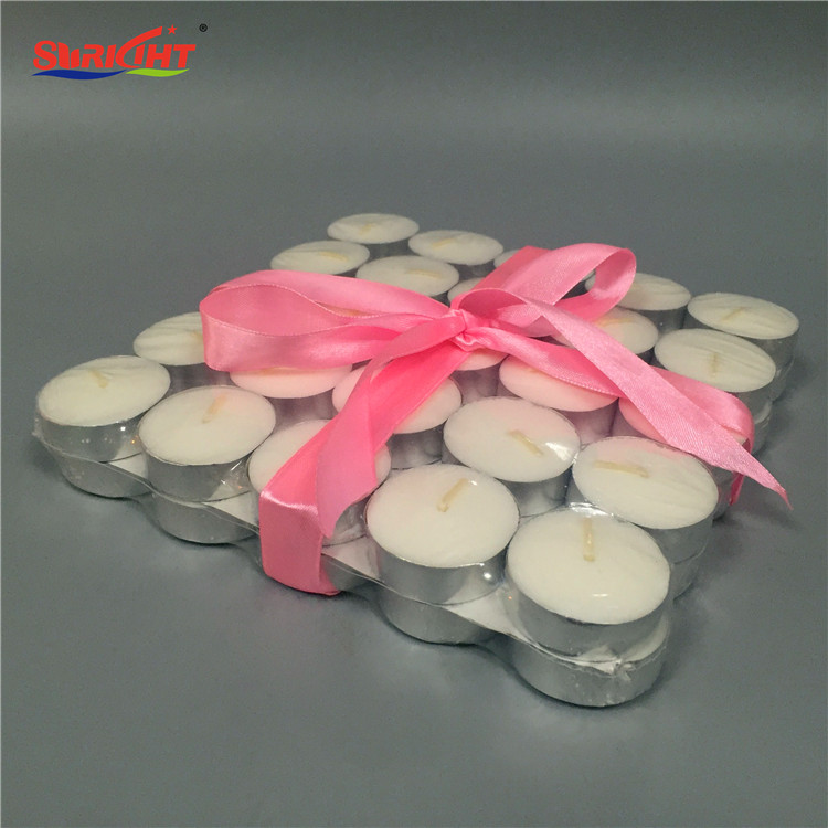White Unscented Tealight Cemetery Memotial Tealight Candle Pack with Ribbon