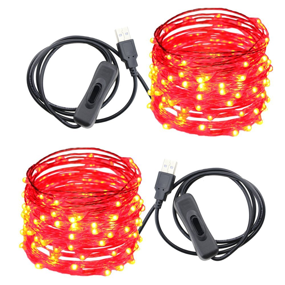USB Led String Lights,ER CHEN(TM) 100 Leds 33Ft Waterproof Copper Wire String lights with ON/OFF Switch for Bedroom, Patio, Party, Wedding, Christmas Decorative Lights(Red,2-Pack)