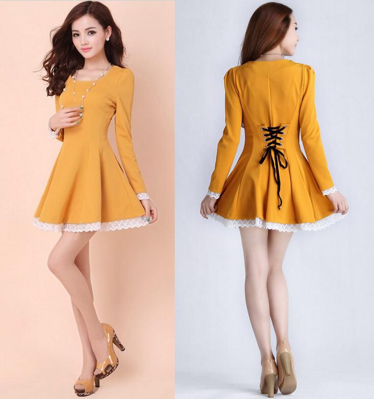Turmec » yellow long sleeve flower lace pleated dress 5410bcc6a