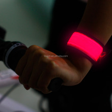 new products 2016 luminous led slap bracelets flashing arm running band